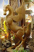Woodcarving of Pegasus in Teak